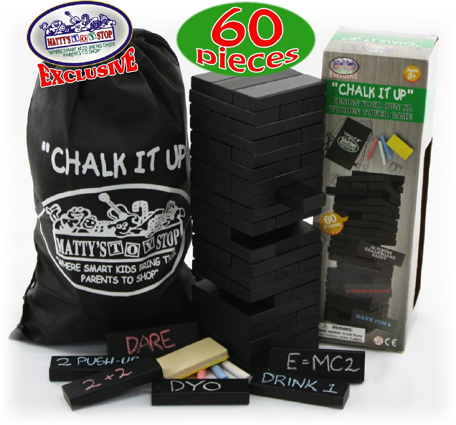 Matty's Toy Stop Chalk It Up Design Your Own 60pc XL Wooden Tower Deluxe Stacking Game by Matty's Toy Stop
