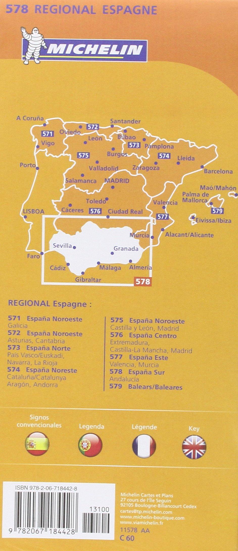 Carte Andalousie Ign.Amazon Fr Carte Espagne Andalousie Michelin Collectif