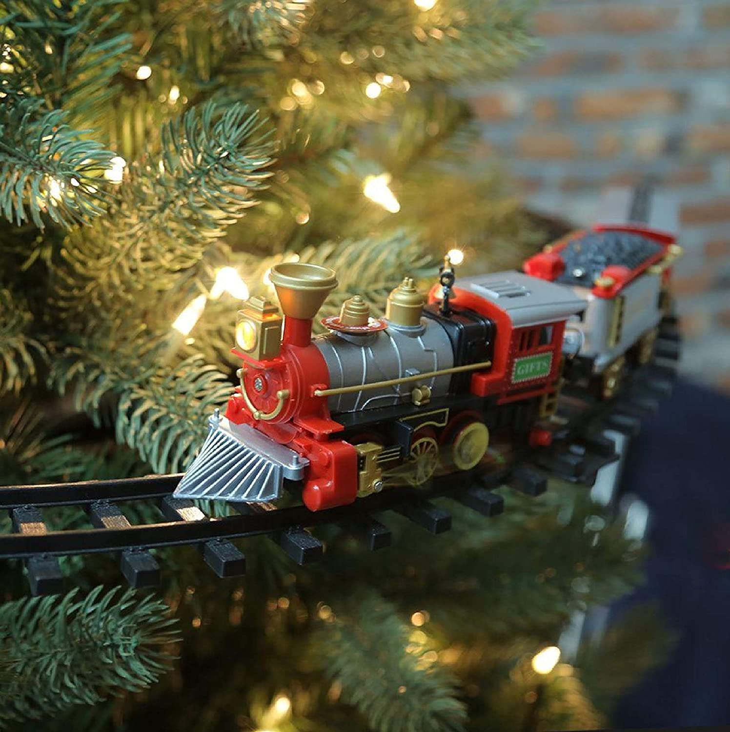 Home Accents Holiday Christmas Around The Tree Train Set - 9 Ft Mounts to Tree Trunk or Run on Floor - 35 Inch Track Diameter