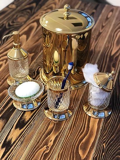 Luxury Brass Bathroom Set 6 Pieces Bath Set Brass Set Gold Trash Box