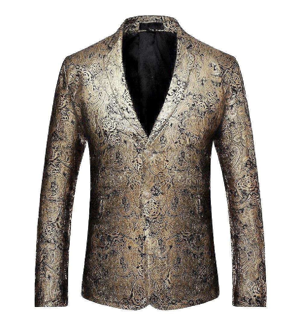 Tootless-Men Autumn Shiny Club Small Blazer Business Slim Simplicity Suit Golden S