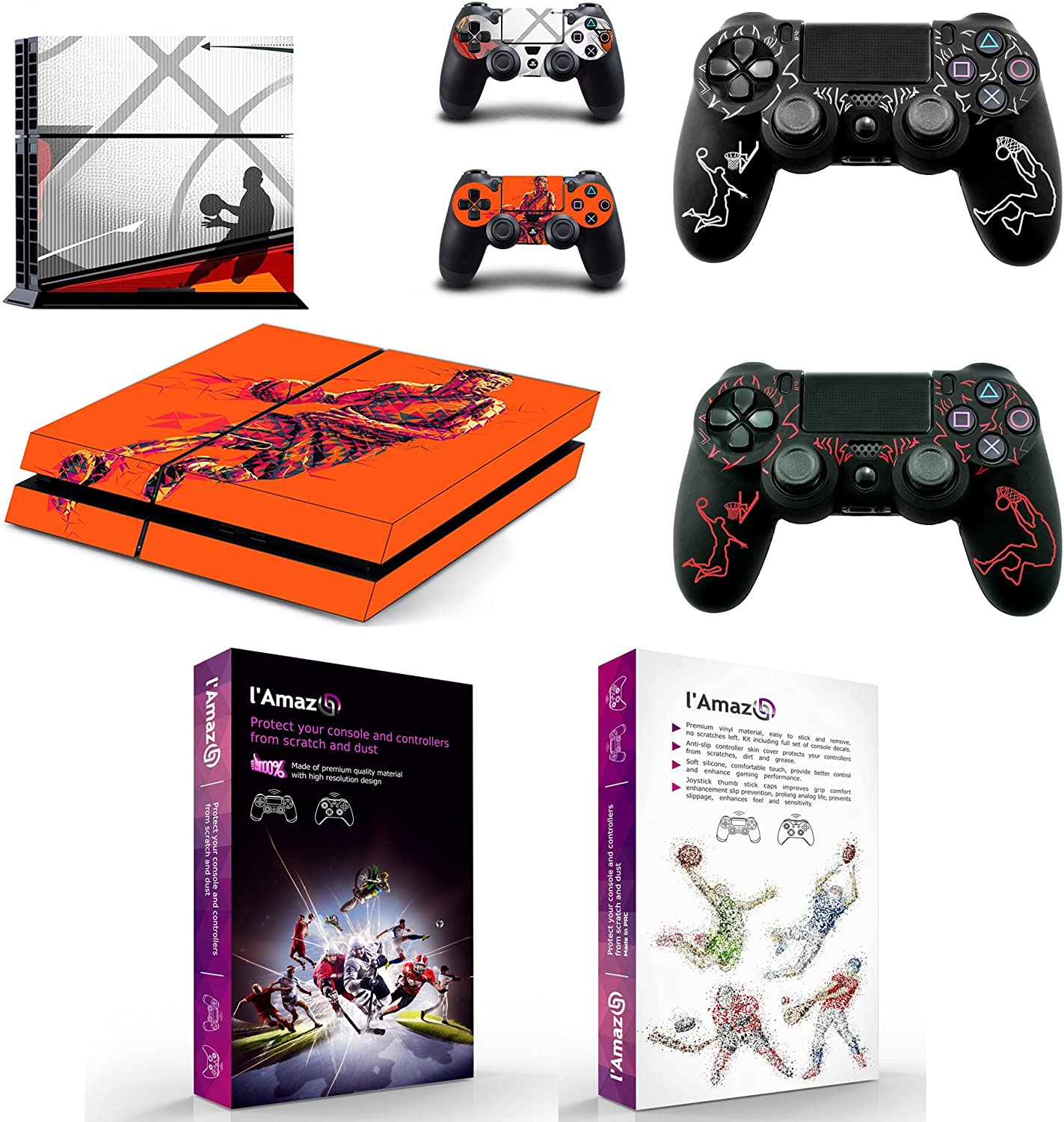 L'Amazo Protective Playstation 4 Skins Bundle Set of Sticker Vinyl decals for console and Ps4 controller silicone cover cases in Gift Box Gamer Kit Basketball Design