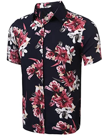 71134d56 Men's Floral Button Down Shirt, Short Sleeve Casual Summer Aloha Hawaiian  Shirt (Large)