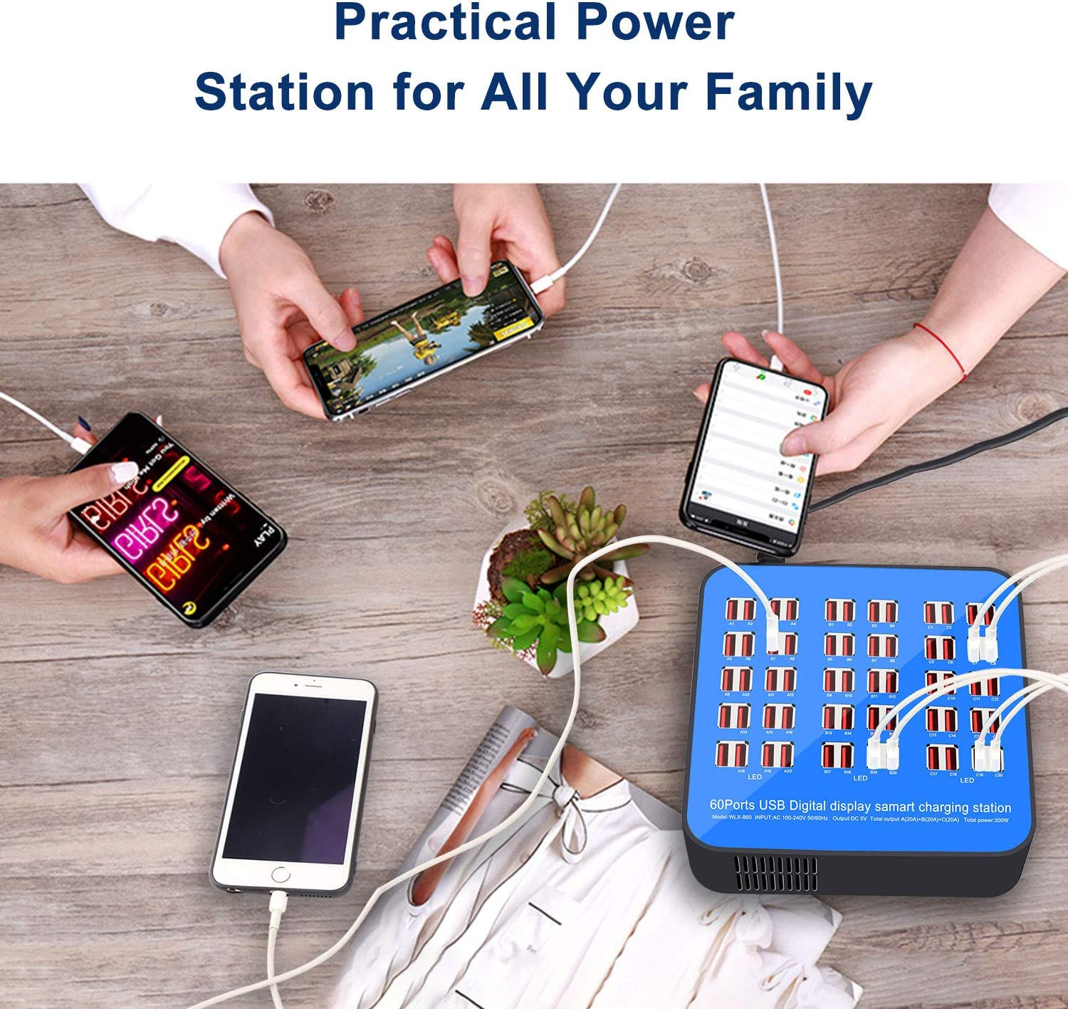 60 Ports USB Power Station,Multi Port USB Wall Charger Adapter 2019 Newest Style USB Charging Station Noninterference Multiport Desktop USB Rapid Charger for Hotel School Shopping malls