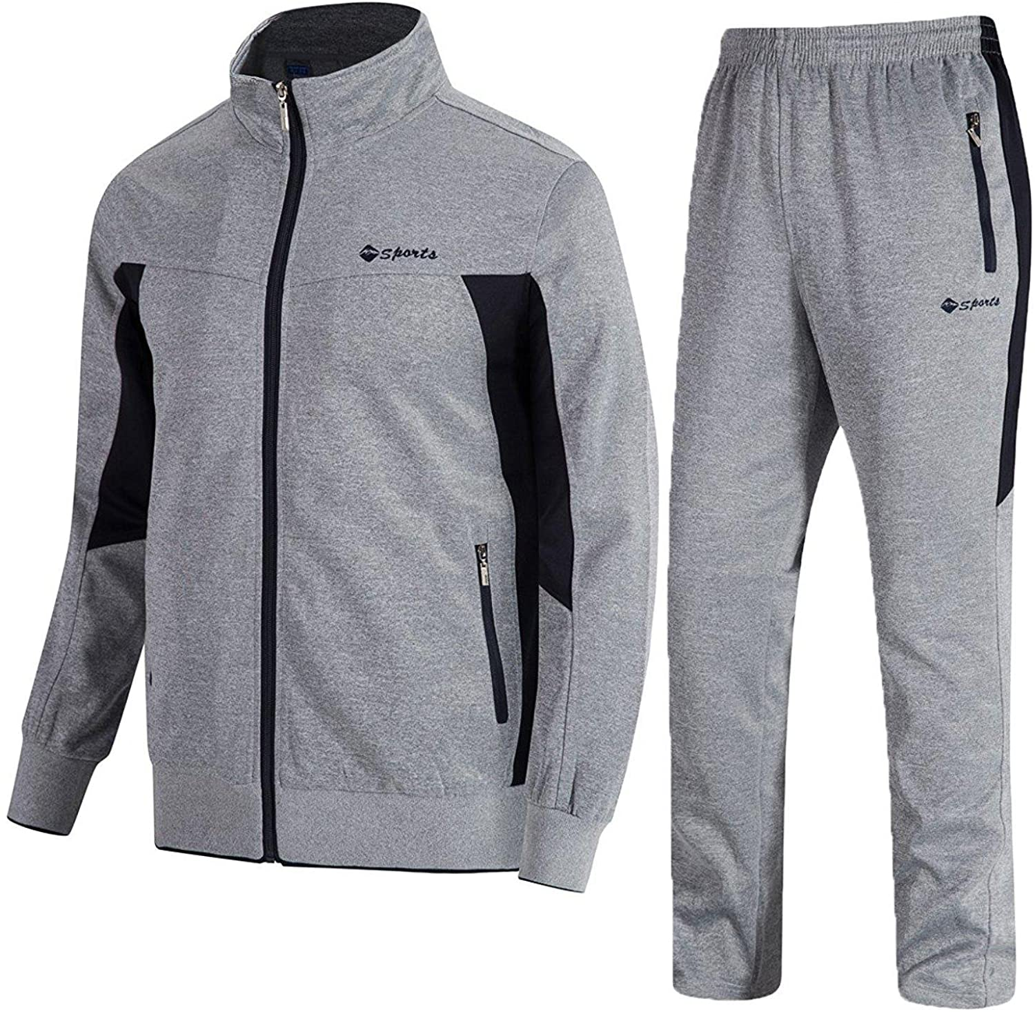 Amazon.com: TBMPOY Men's Tracksuit Athletic Sports Casual Full Zip  Sweatsuit: Clothing