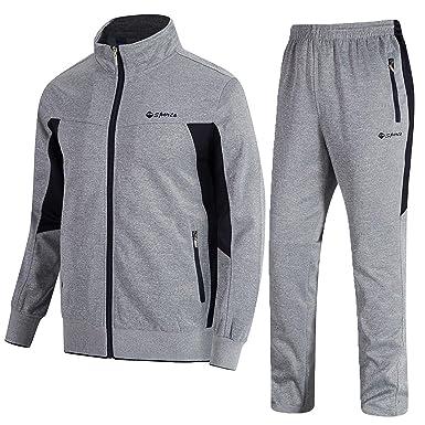 14bcbaa48047a TBMPOY Men s 2 Piece Jacket   Pants Woven Warm Jogging Gym  Activewear(Grey