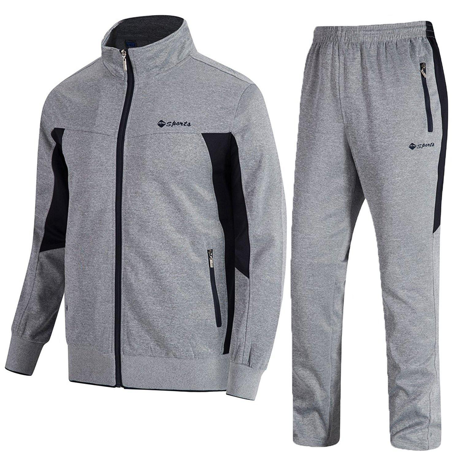 TBMPOY Men's 2 Piece Jacket & Pants Woven Warm Jogging Gym Activewear(Grey,US XL)