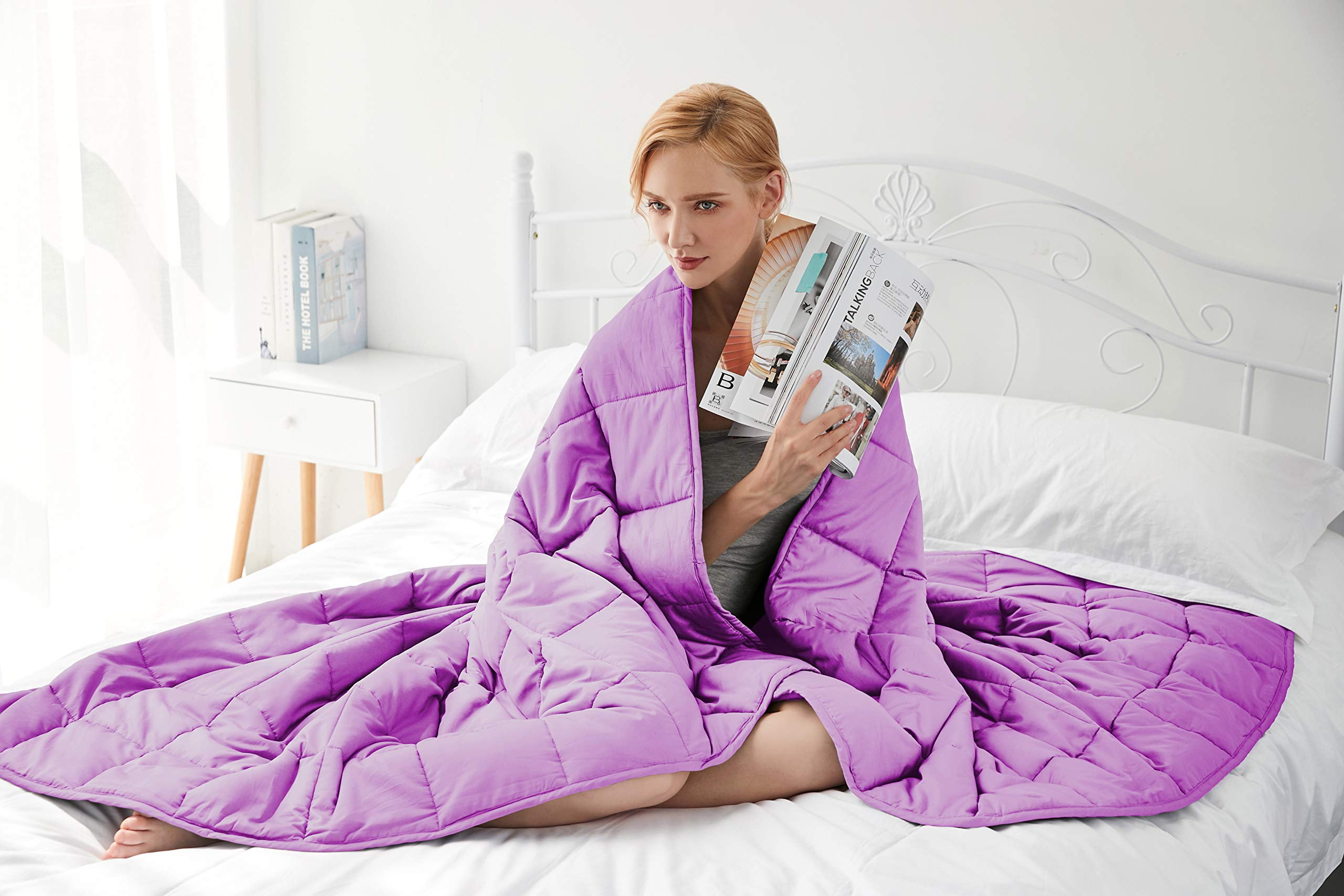 Gsleeper Weighted Blanket (Purple, 48''x72'' Twin Size 12LB),New Concept of Sleep, Comfortable Sleeping, Warm and Close-Fitting but not Bloated by Gsleeper