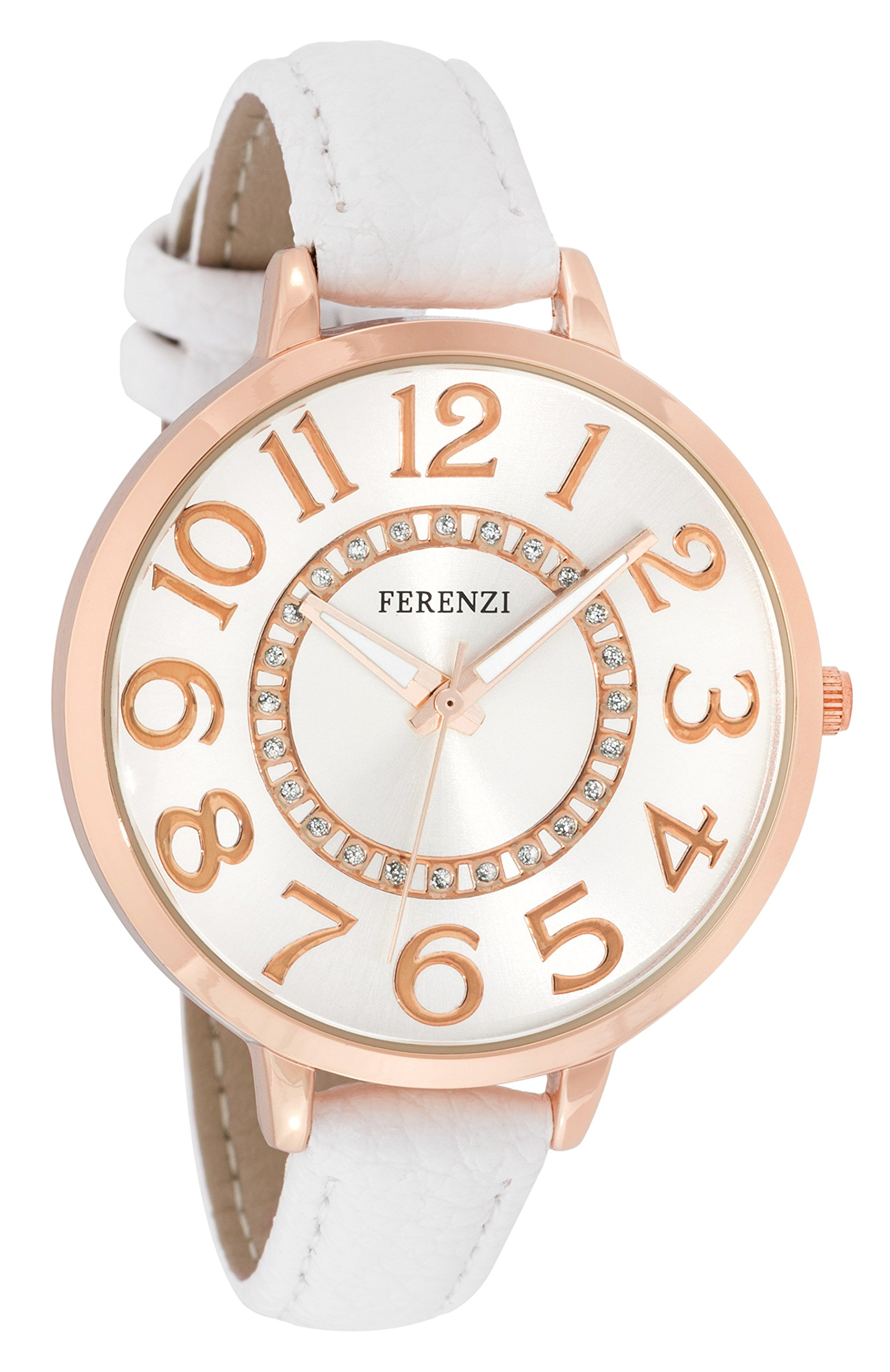 FERENZI Women's | Classic Rose Gold-Tone and White Large Easy Reader Analogue Quartz Fashion Watch | FZ17703