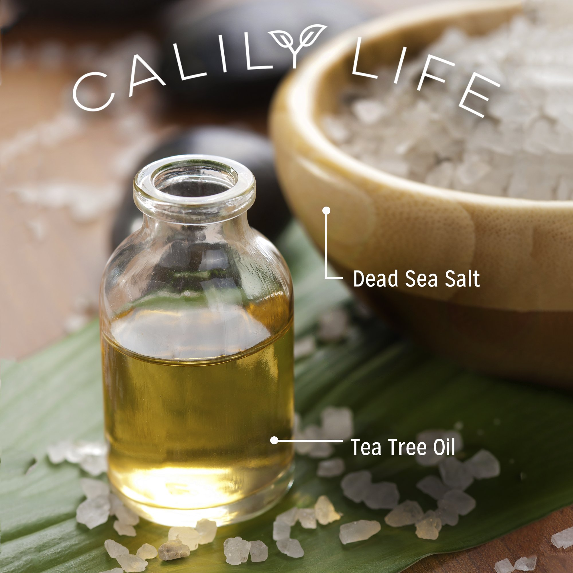 Calily Life Organic Tea Tree Oil Antibacterial Body Wash with Dead Sea Minerals, 33. 8 Fl. Oz. – Enriched with Pure Therapeutic Grade Essential Oils – Combats Bacteria & Fungal Infections [ENHANCED]