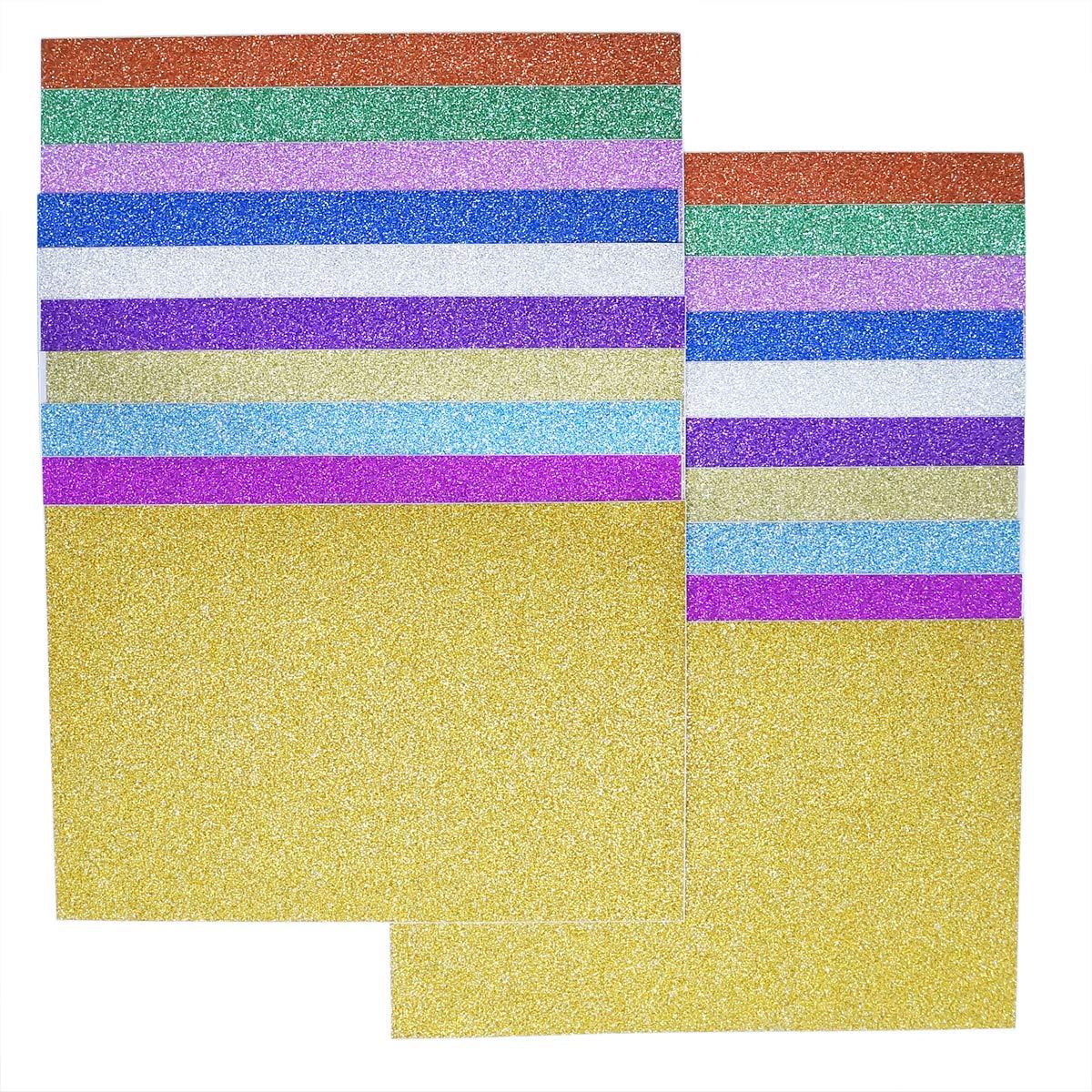 YXJDWEI 20 Feuilles /à Paillettes Papier Autocollantes en Vinyle pour Scrapbooking Cartes DIY Artisanat 10x15 cm