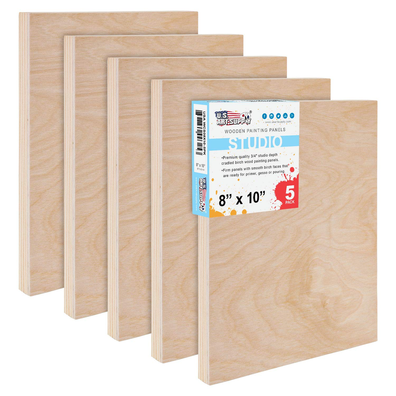U.S. Art Supply 8'' x 10'' Birch Wood Paint Pouring Panel Boards, Studio 3/4'' Deep Cradle (Pack of 5) - Artist Wooden Wall Canvases - Painting Mixed-Media Craft, Acrylic, Oil, Watercolor, Encaustic by US Art Supply