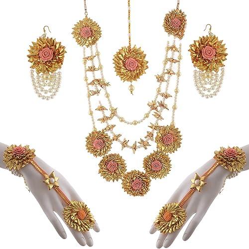 61219adc1 Buy FashionandBeads Gota Patti Flower Jewellery Set for Women and ...