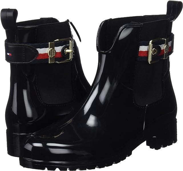 0d0c093381314d Tommy Hilfiger Damen Corporate Belt RAIN Boot Gummistiefel Schwarz (Black  990) 38 EU