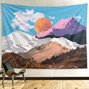 Funeon Mountain Tapestry Blue Sky Black White | Colorful Nature Small Dorm Tapestry Wall Hanging for Teen Boy Girls Men 's Bedroom | College Tapestries Aesthetic Indie Room Wall Decor 51x60 inches…