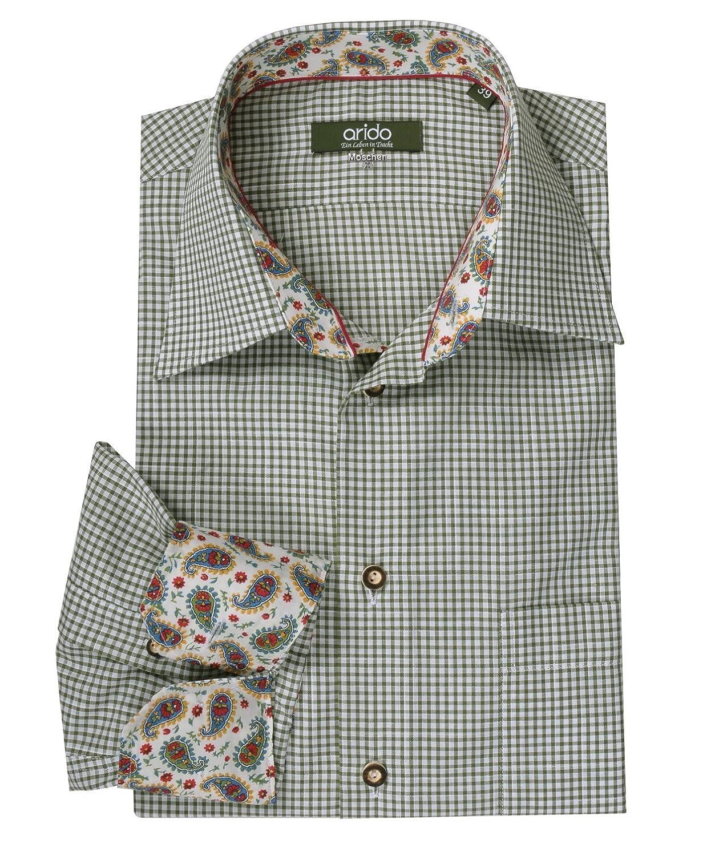 First Class Trachtenhemd Herren Grün Karo/kariert Langarm/Kurzarm Komfort Baumwolle Slim Fit