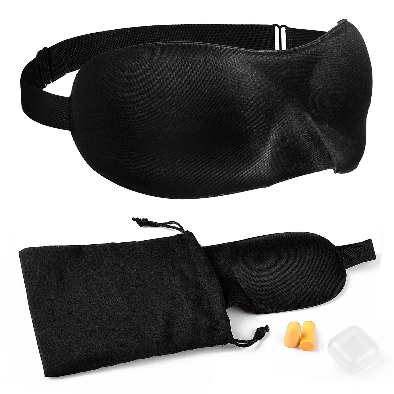 anbina® sleep glasses blindfold sleep mask incl. earplugs + storage bag in black AN-10000