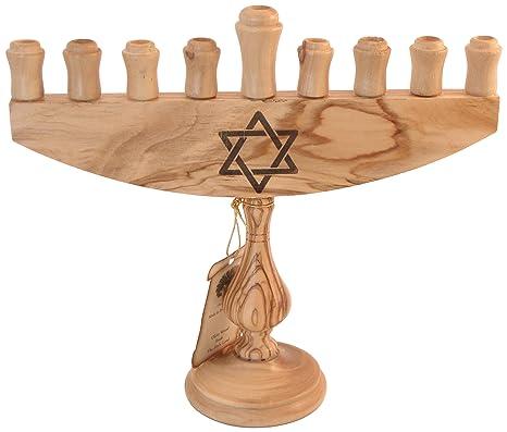 28cm - 11 Inches Holy Land Market Olive Wood Menorah