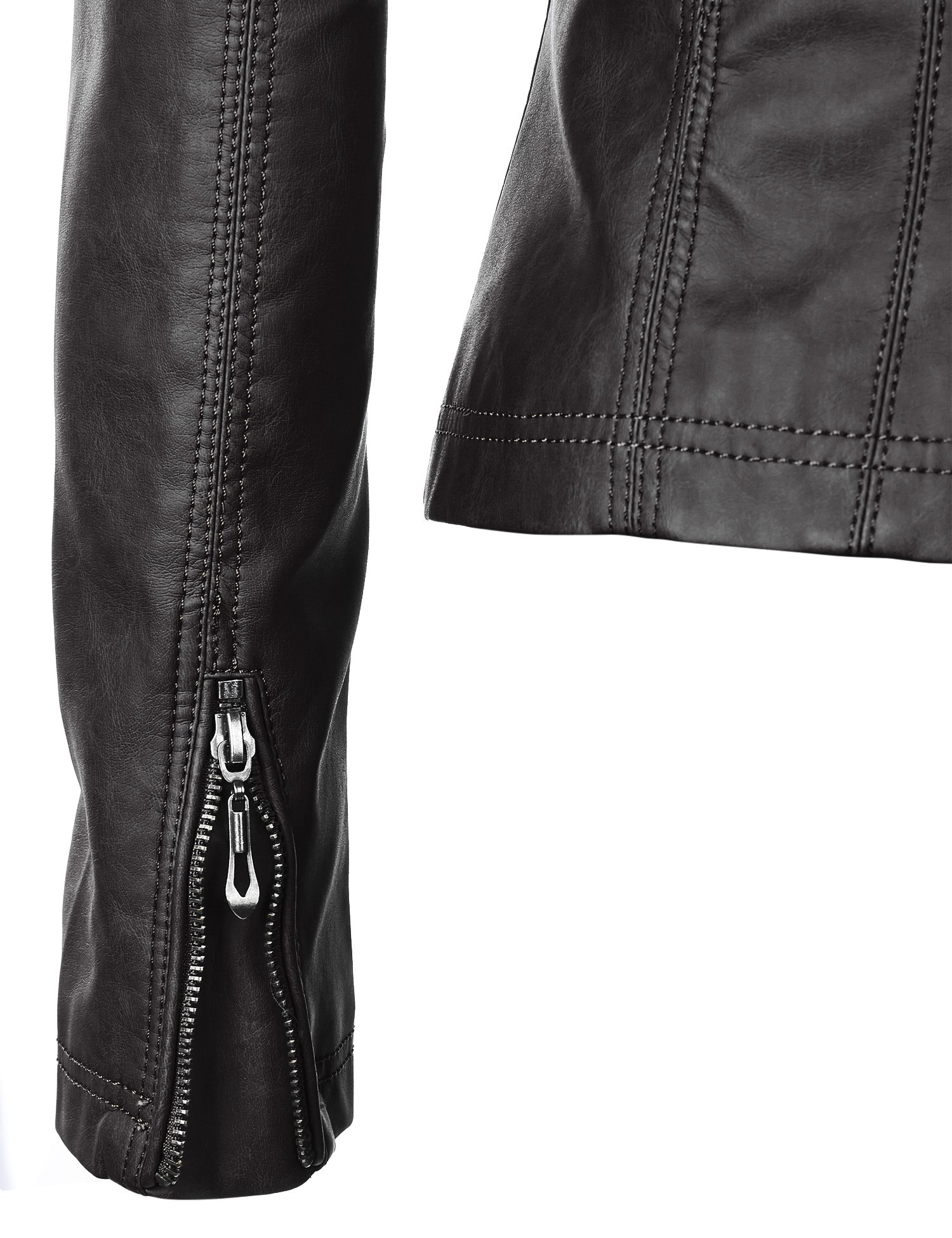 WJC877 Womens Panelled Faux Leather Moto Jacket L BLACK by Lock and Love (Image #5)