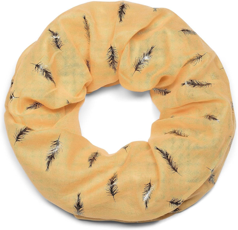 foulard styleBREAKER sciarpa scaldacollo con motivo in metallo dorato con piume sciarpa ad anello donna 01017062