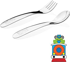 Kiddobloom Baby / Early Toddler Stainless Steel Utensil Set, Train Model, 2pc (Spoon and Fork) Perfect for Baby Led Weaning or Self Feeding or Baby Feeding
