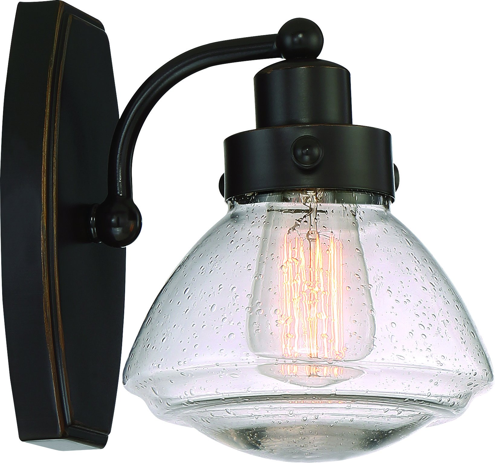 Luxury Transitional Bathroom Vanity Light, Small Size: 8.75'' H x 6.75'' W, with Rustic Style Elements, Oil Rubbed Parisian Bronze Finish and Seeded Schoolhouse Glass, UQL2650 by Urban Ambiance