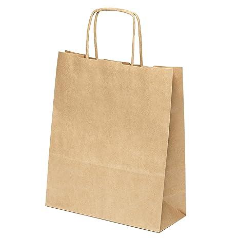 25 piezas Bolsas con asas de Papel Regalo 20 x 24 x 8 cm - Bolsa Biodegradable Regalos Comunión para Invitados o para Guardar Comida, Semillas Flores, ...