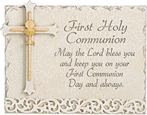 """Joseph's Studio by Roman - Communion Collection - First Holy Communion Wall Plaque with Verse, Stone Finish, 6"""" H, Resin and Stone, Decorative, Collection, Durable, Long Lasting"""