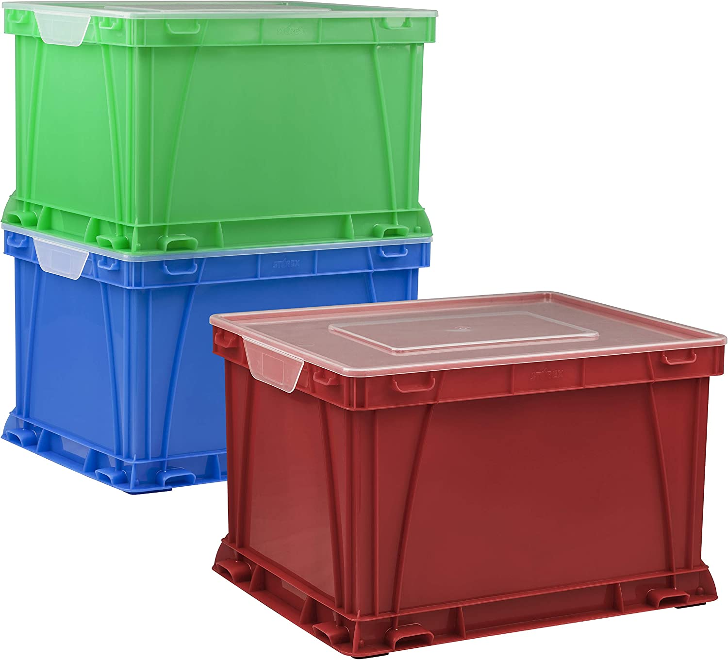 Storex Storage and Filing Cube, 17.25 x 14.25 x 10.5 Inches, Assorted Colors/Clear, Case of 3 (STX62001U03C)