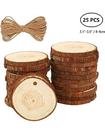 Rodajas de Madera Círculos 30pcs 6-7cm Fuyit Discos de Madera Rebanada + 10m Cuerda