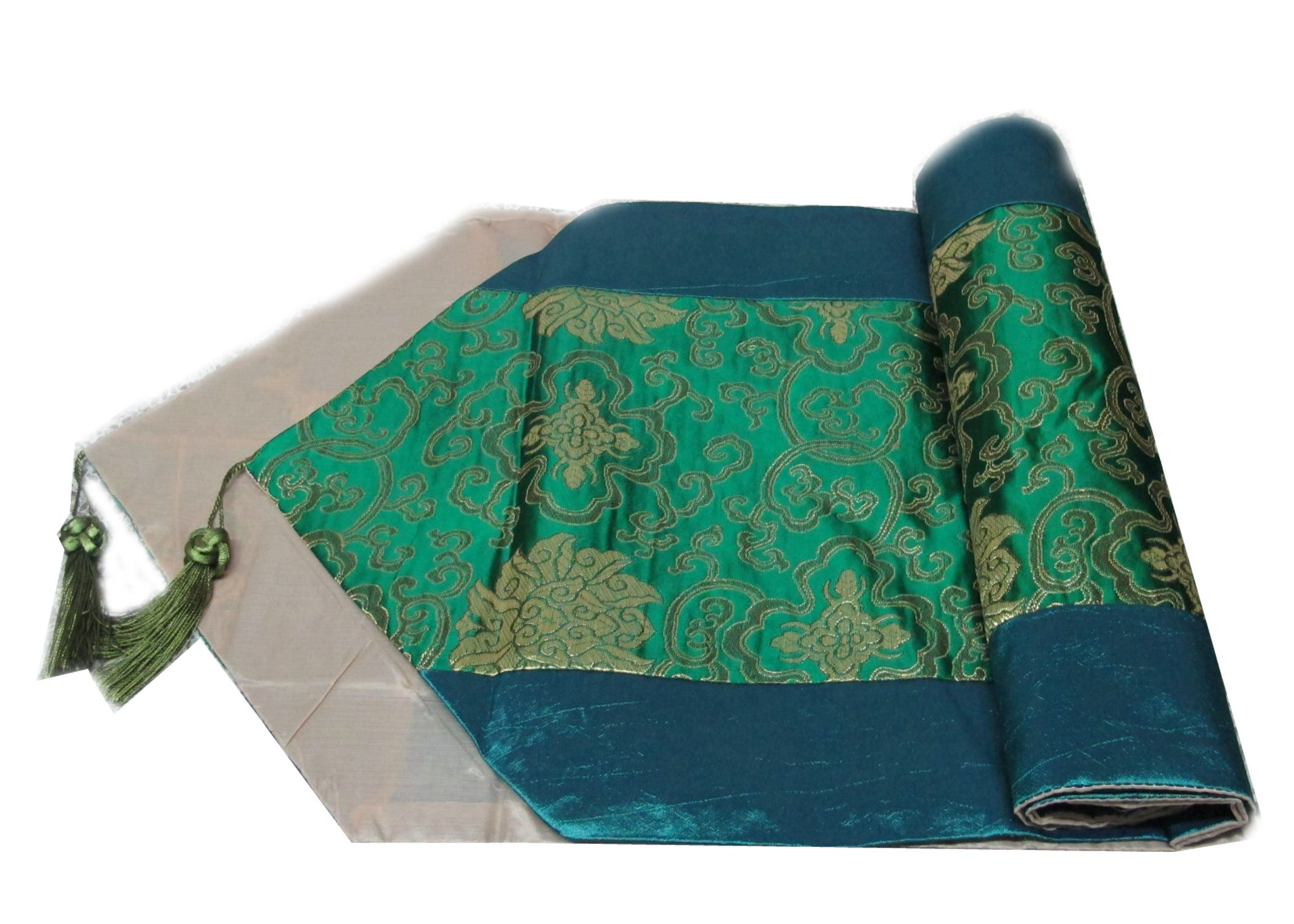 So Beautiful Flower Thai Silk Table/bed Runner 13 Inches X 76 Inches By Handmade Buy a Set of Bed Runner Get One Free Thai Silk Clutch Wallet