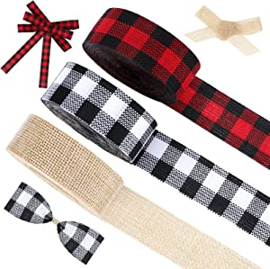 3 Rolls Christmas Plaid Ribbon Buffalo Plaid Burlap Ribbons Christmas Wrapping Decoration Ribbon for Christmas Fall Wrapping DIY Crafts Decor Supplies, 24 Yards in Total (1 Inch)