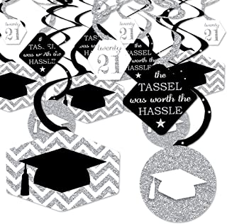 product image for Big Dot of Happiness Silver - Tassel Worth The Hassle - 2021 Graduation Party Hanging Decor - Party Decoration Swirls - Set of 40