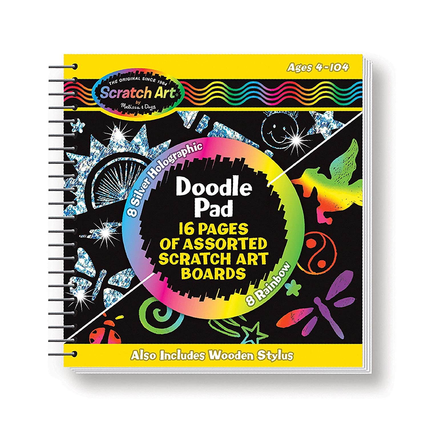 Melissa & Doug Scratch Art Doodle Pad Book - The Original (Arts & Crafts, Mini Stylus Included, Easy to Use, 16 Spiral-Bound Pages, Great Gift for Girls & Boys - Best For 4, 5, 6 Year Olds & Up) 814phj1SukL
