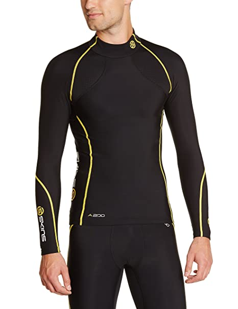 77883d74092ce Skins A200 Thermal Long Sleeve Mck Neck Men's Compression Top -  Black/Yellow, ...