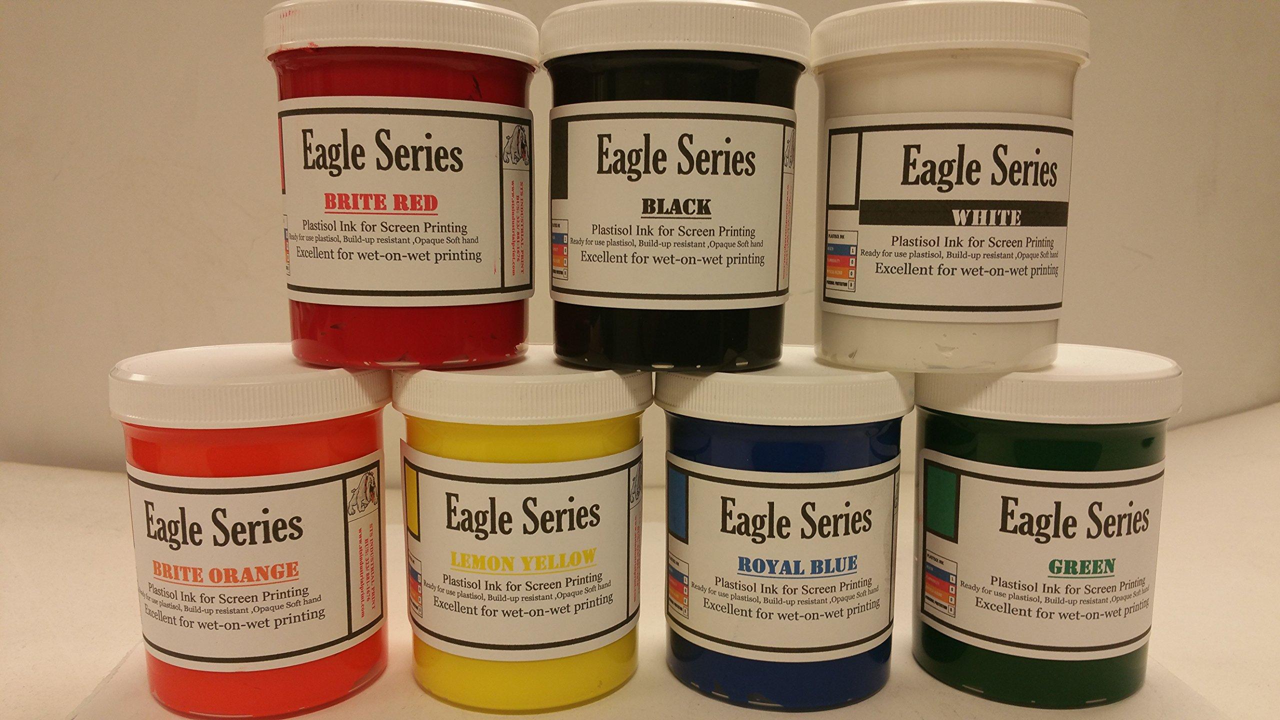 7 Primary Color Plastisol Ink Pint Kit 16oz Jars (Best Value) by Eagle