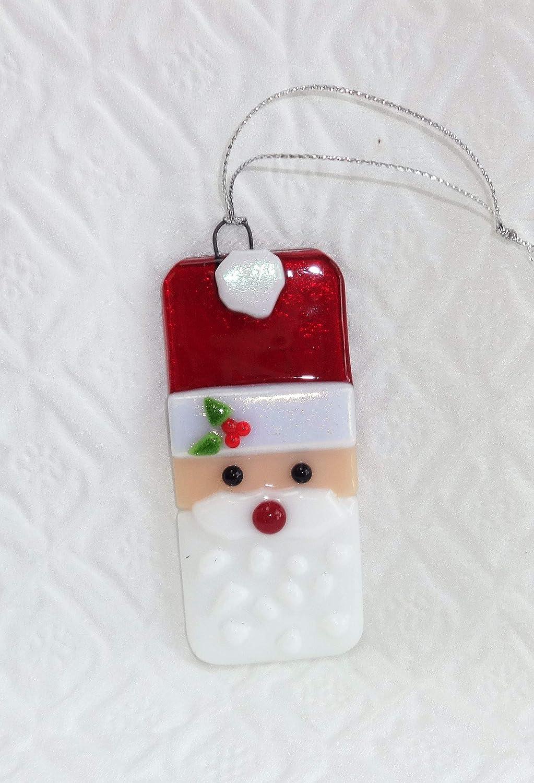 Fused Glass Santa Claus Christmas Tree Ornament