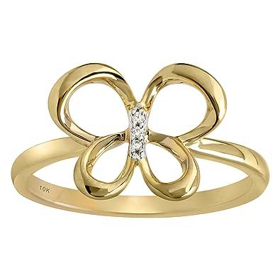de8c8ec8dd1a5 Amazon.com: Jessica Simpson 10K Yellow Gold Diamond Accent Butterfly ...