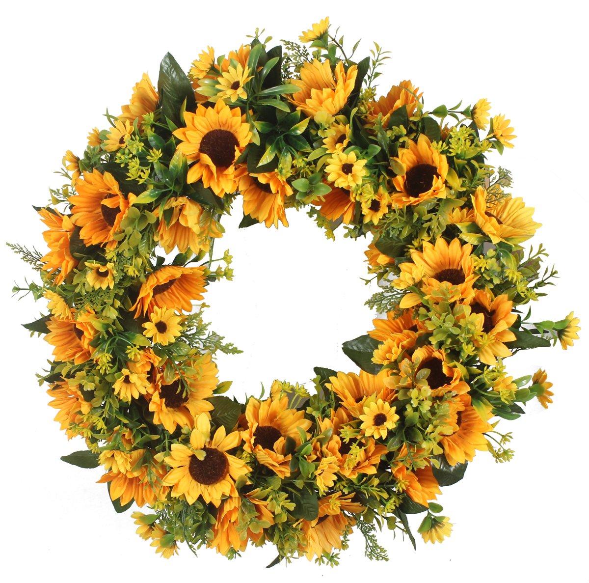 Duovlo 20 Inch Sunflowers Flowers Greenery Wreath Summer Fall Celebrate Handcrafted Door Wreath Wildflowers Decoration
