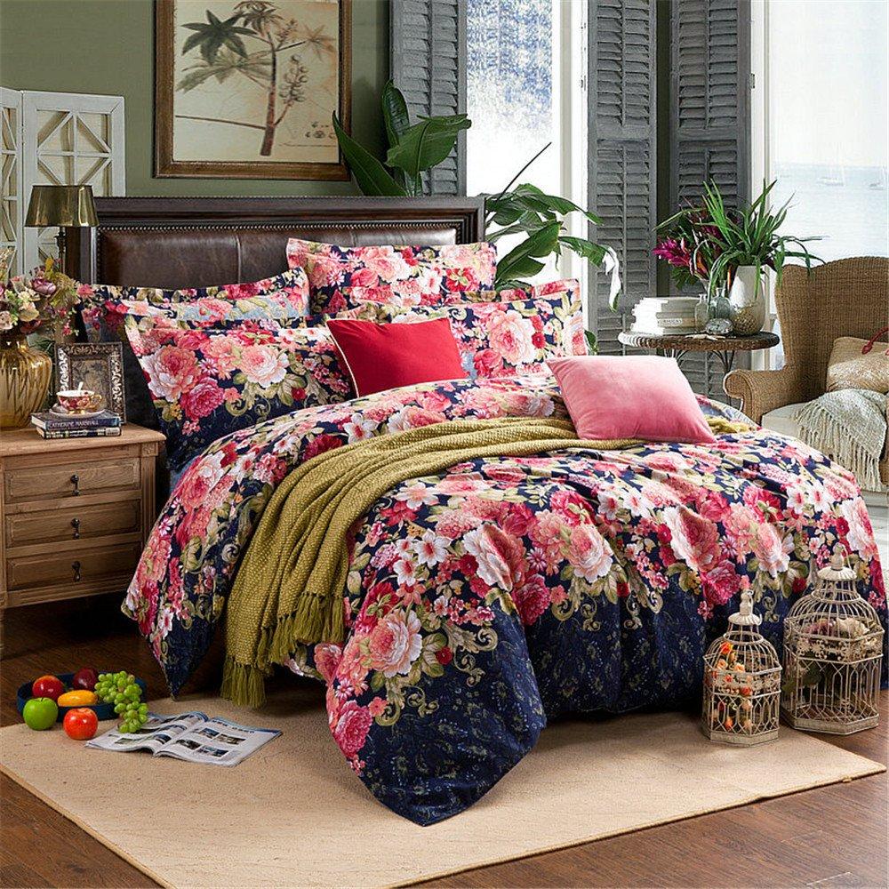 Bedding Duvet Cover Sets Cotton Home Collection Decor For Adult Children Kids Boys Girls Teen Dorm 4Pcs Quilt Cover×1,Flat Sheet×1,Pillowcases×2 Wedding Thanksgiving Christmas Birthday Gift,King 2202