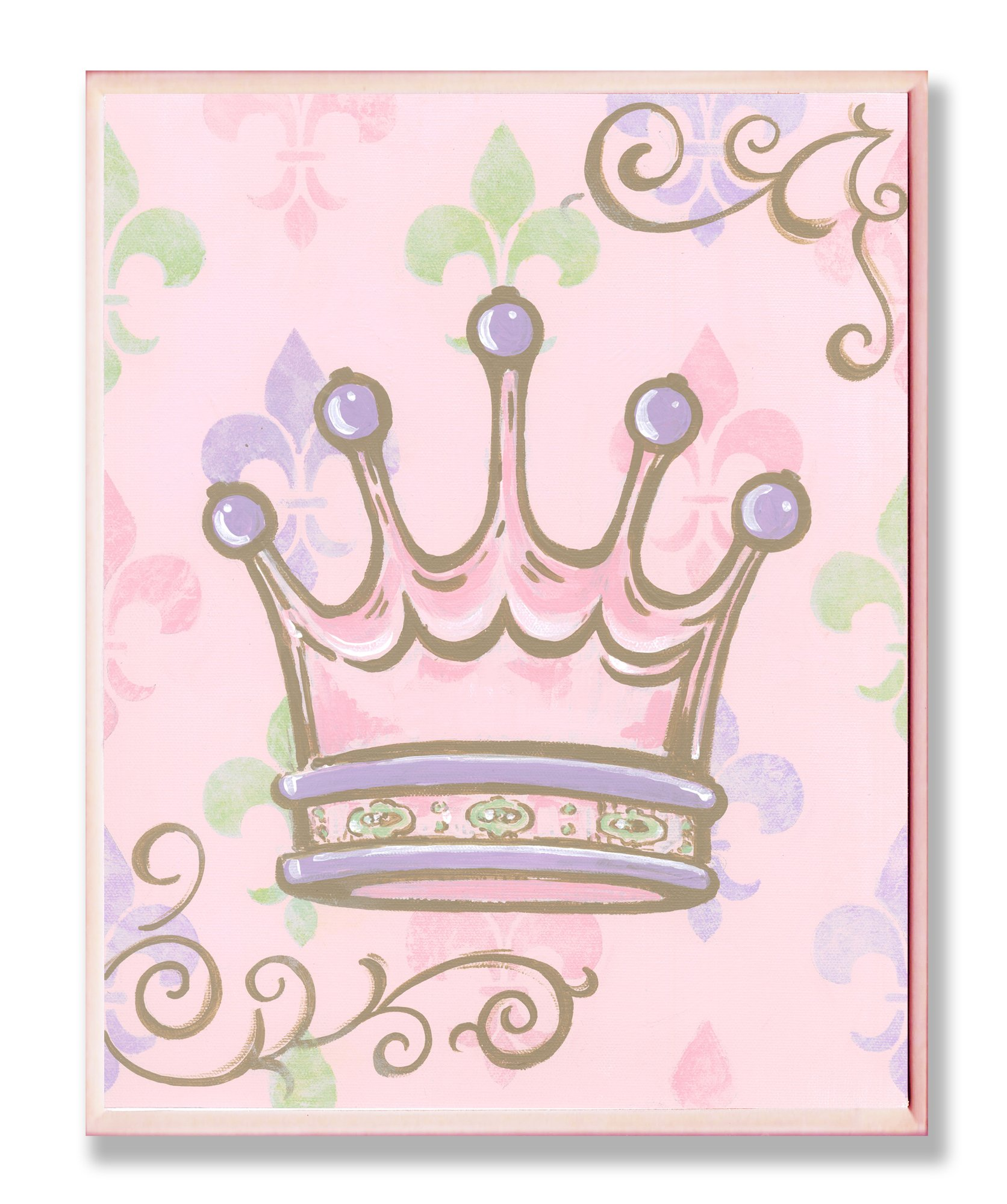 The Kids Room by Stupell Crown with Fleur de Lis on Pink Background Rectangle Wall Plaque by The Kids Room by Stupell