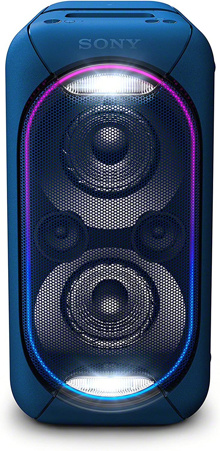 Sony GTK-XB60 - Sistema de audio, altavoz para fiesta de alta potencia (Bluetooth, NFC, batería integrada, High Power, efectos de luz, Wireless Party Chain, posición vertical y horizontal), color azul
