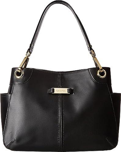 f4e6bc4891b27 Amazon.com  Calvin Klein Women s Key Item Pebble Leather Satchel Black Gold  One Size  Shoes
