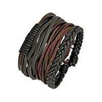 The Jewelbox Earthen 100% Genuine Leather Dyed Rope Multi Strand Wrist Band Bracelet Men Gift