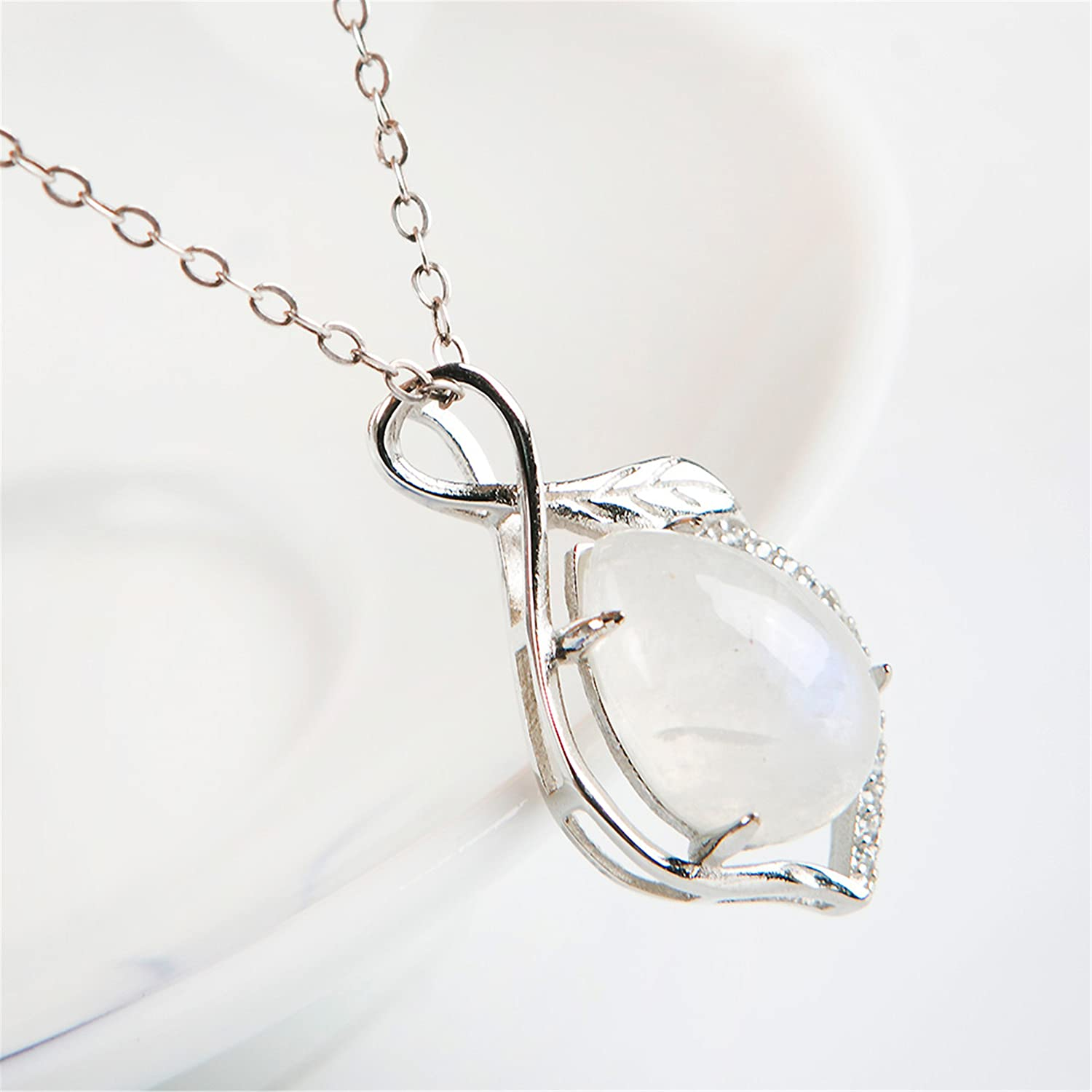 LiZiFang Genuine Natural Moonstone Crystal Silver Jeweley Necklace Pendant 14x11x6mm