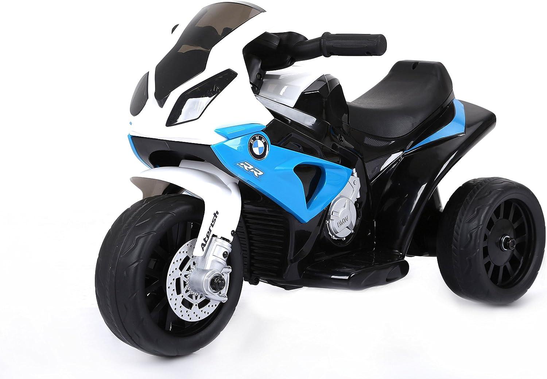 RIRICAR BMW S 1000 RR Triciclo eléctrico, Motocicleta con batería, 3 Ruedas, con Licencia, 1x Motor, batería de 6V, Azul