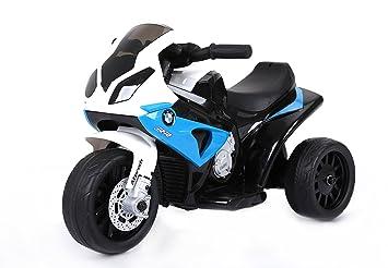 RIRICAR BMW S 1000 RR Triciclo eléctrico, Motocicleta con batería, 3 Ruedas, con Licencia, 1x Motor, batería de 6V, Azul: Amazon.es: Juguetes y juegos