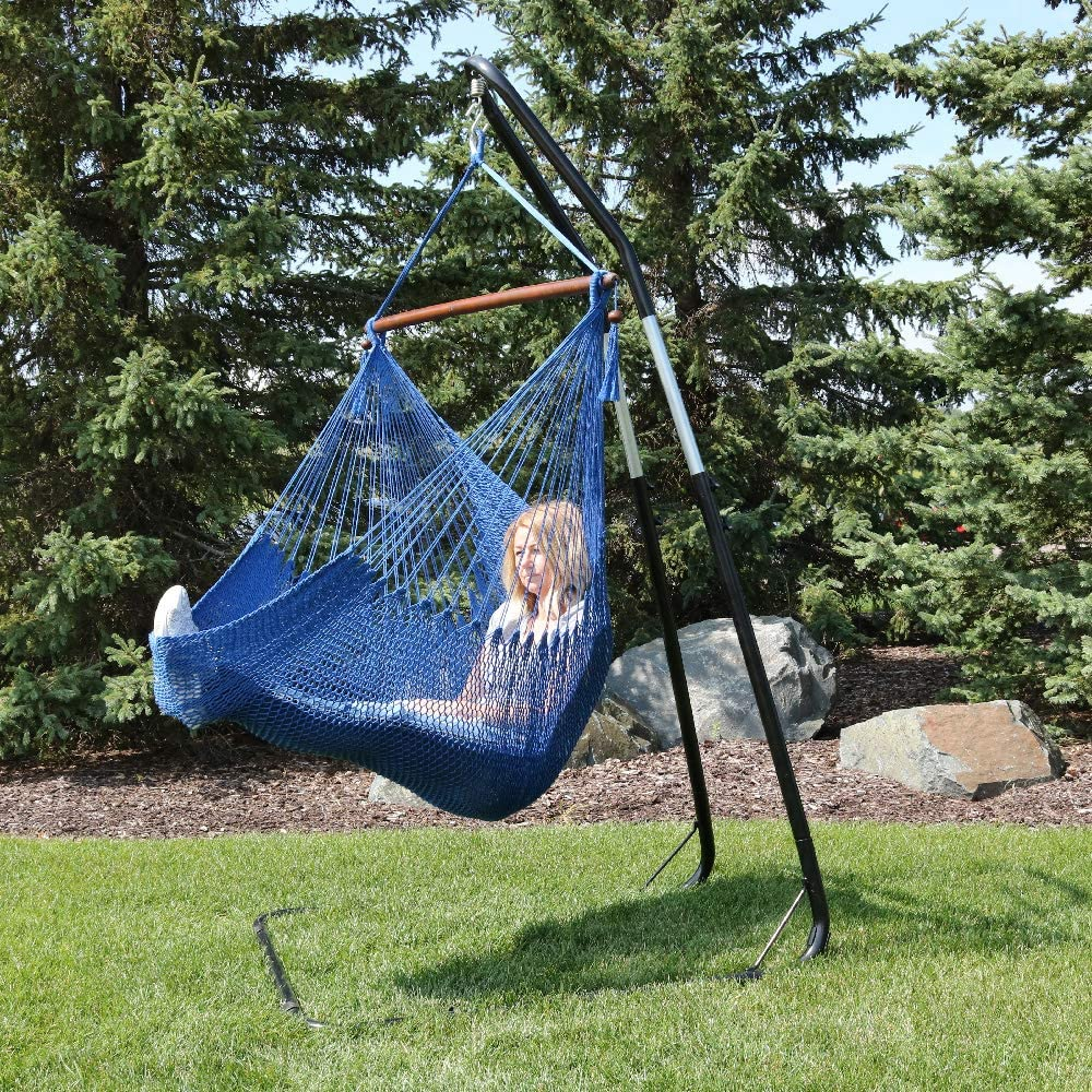 """Sunnydaze 40"""" Hanging Caribbean XL Hammock Chair with Adjustable Stand - Blue - 300 lbs Weight Capacity"""