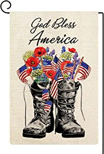 ORTIGIA Patriotic Memorial Day Garden Flag 12x18 Inch Double Sided God Bless America Yard Flags 4th of July Independence Day American Freedom Boots Veteran Soldier Yard Outdoor Decor
