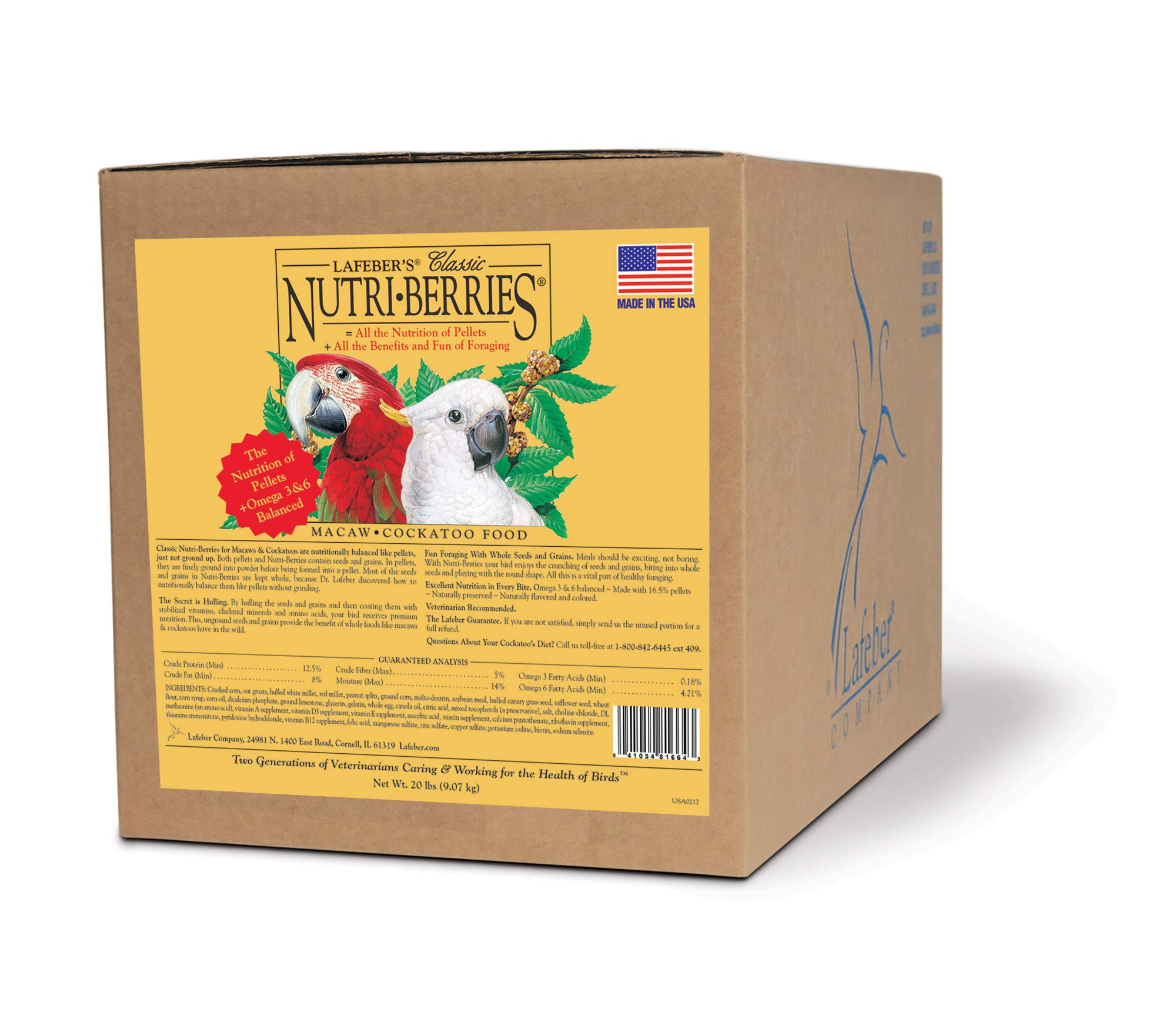 LAFEBER'S Classic Nutri-Berries Pet Bird Food, Made with Non-GMO and Human-Grade Ingredients, for Macaws and Cockatoos, 20 lbs by LAFEBER'S